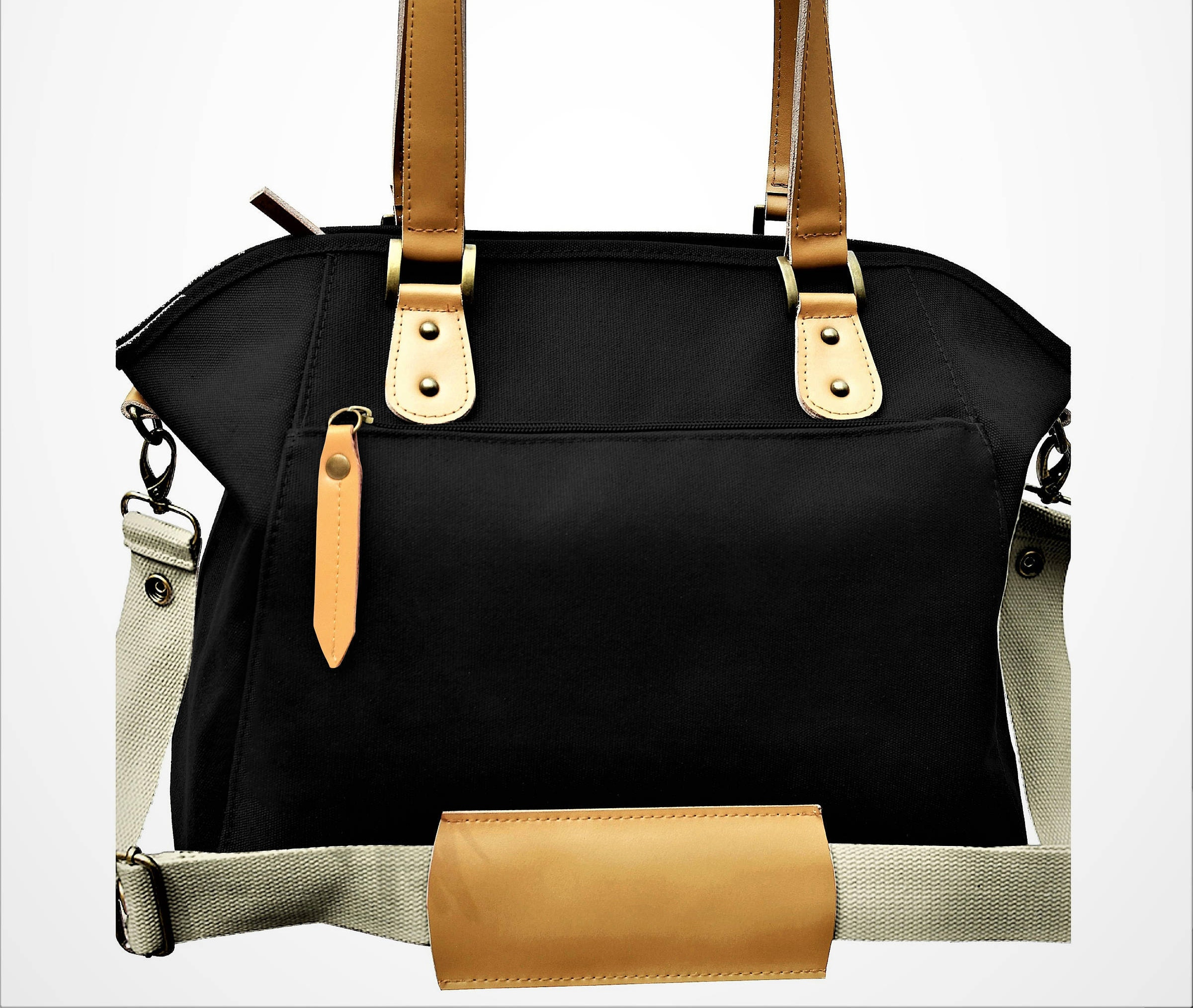 canvas leather convertible diaper bag sturdy stand alone. Black Bedroom Furniture Sets. Home Design Ideas