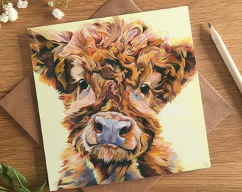 Cow Lovers Card - Highland Calf Card - Ted - Baby Highland Cow - Greetings Card - New Baby Card - Cute Cow - Fluffy Calf - Christening Card