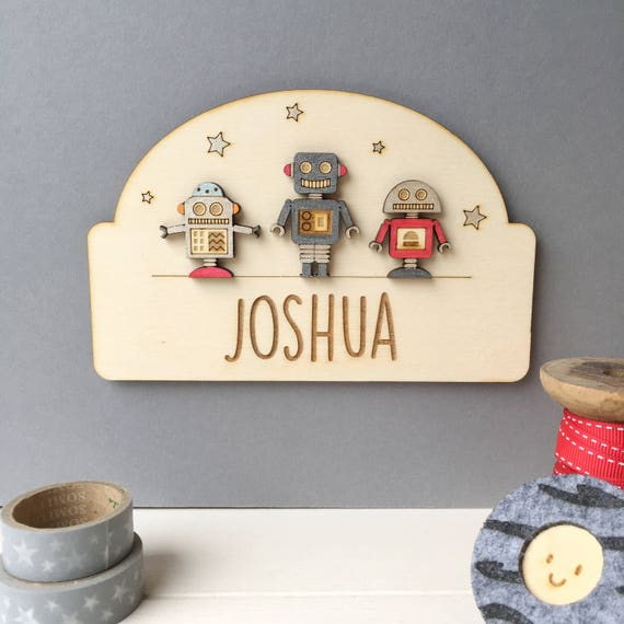 Robot Door Plaque - Name plaque - Cheeky Robots - Name sign