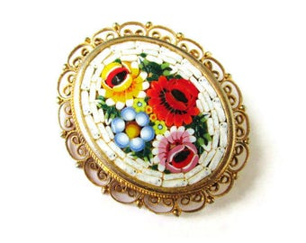 Italian Micro Mosaic Pin/Oval White Micromosaic Brooch/ Red  Floral Gold Tone  /White Yellow Blue Flowers Filigree Pin