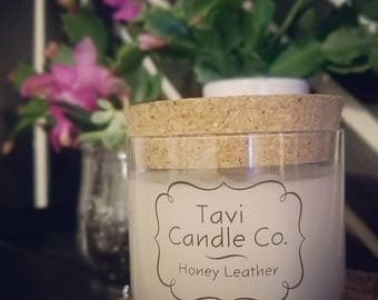 Honey Leather Scented Soy Wax Candle