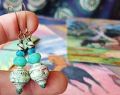 Antique Map Book Paper Bead Earrings Color Stacks