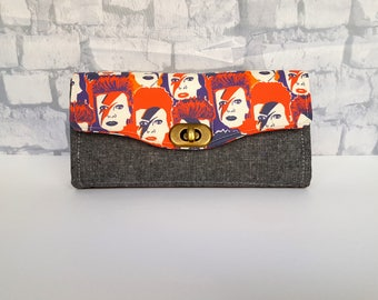 David Bowie Wallet - Ziggy Stardust Clutch Wallet - Handmade Accordion Wallet - Ziggy Stardust Accordion Wallet - Bowie Clutch Wallet