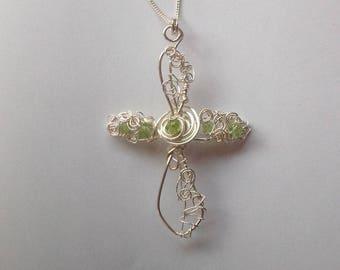 Peridot Celtic Cross Pendant, August Birthstone Pendant, Silver and Peridot Cross Pendant Necklace, August Birthday Gift, August Birthstone
