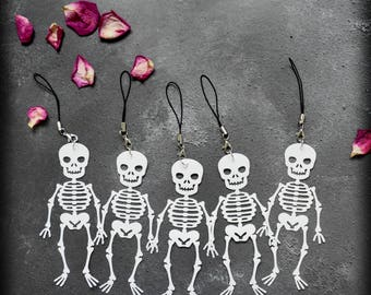 Chuckling Skelly Charm, Handmade Faux Leather Skeleton Bag Charm Halloween Decoration