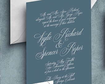 Slate Blue Wedding Invitation