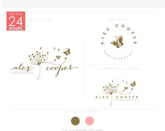 Sketchy Dandelion with Butterflies - Premade Photography Logo and Watermark, Classic Elegant Script Font gold glitter Calligraphy Logo