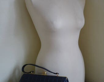 Vintage Navy Blue Padded Kelly Style Handbag Work Bag, Shoulder Bag, Top Handle, Day Bag.