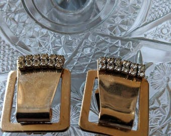 Classy Evening Out 60s Rhinestone & Goldtone Earrings