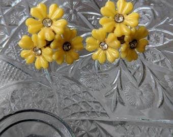 Plastic Yellow Screwback Earrings
