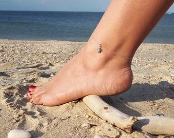 Sterling Silver Turtle Anklet, Sterling Silver Anklet