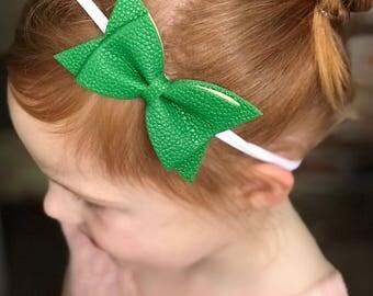 Christmas Green Leather Hair Bow, Nylon Headband, Hair Bow, Baby Bow, Newborn accessory