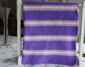 Striped Baby Blanket, Purple Crib Blanket, Purple Nursery Decor, Baby Afghan Crochet, Purple Crib Blanket Knit, Baby Gift, Stroller Blanket