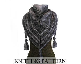 "KNITTING PATTERN Easy Triangle Scarf Pattern, Shawl Pattern, Triangle Wrap, Triangle Shawl, Easy Triangle Shawl, ""The Alpine Wrap"""