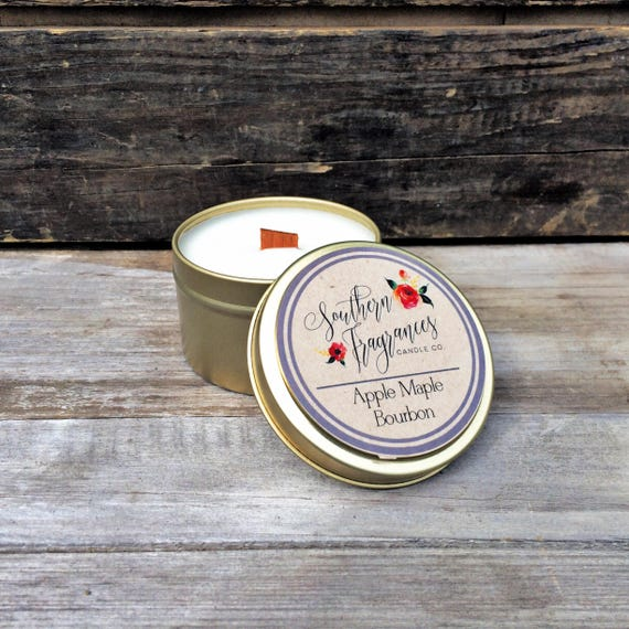 Apple Maple Bourbon Soy Candle | Wood Wick Candle | 6oz Travel Soy Candle | Man Candle