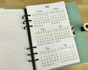 Printed Half Letter Size Yearly Calendars {January-December 2018} #100-91