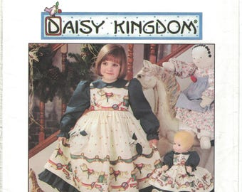 Simplicity 0693 7304 Daisy Kingdom Pinafore Dress and Doll Pattern Size 3 4 5 6