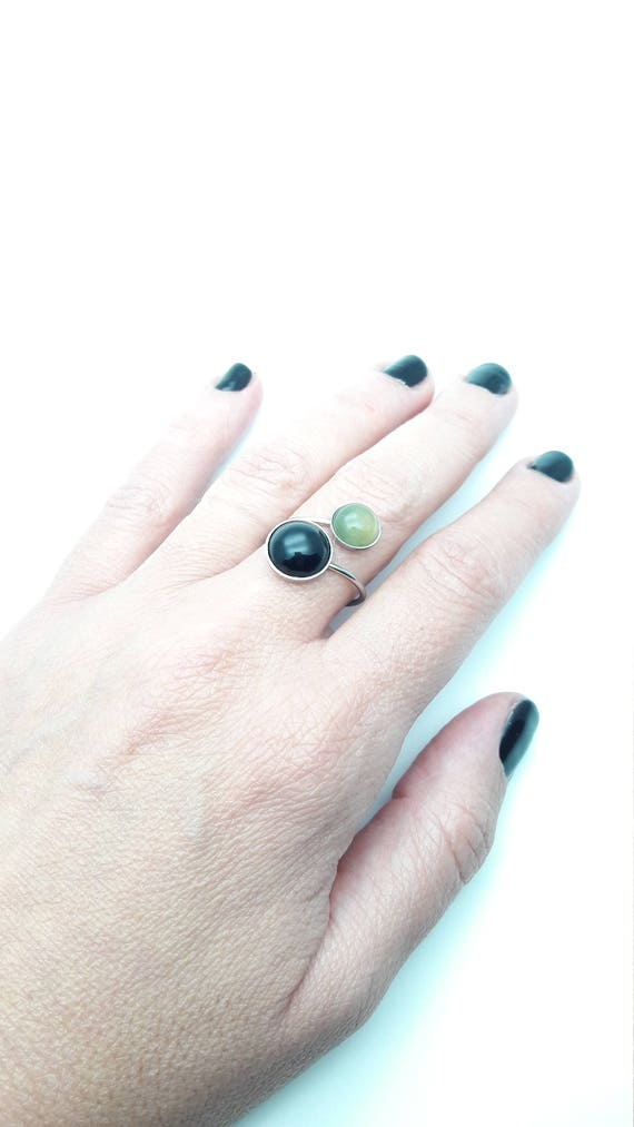 Two Stones Black Green silver stainless steel adjustable ring//Onyx Aventurine gem ring//Round hypoallergenic 8mm/12mm surgical steel ring