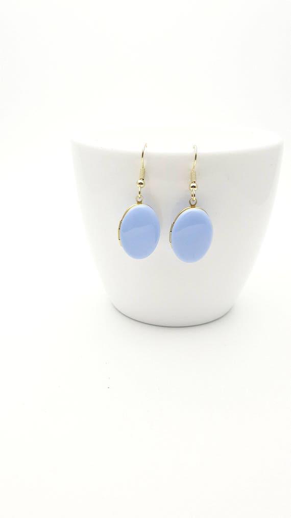 Photo locket Earrings Pastel Lavender Blue Enamel and gold surgical steel hooks hypoallergenic