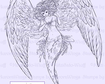 Digital Stamp - Guardian of the Sea - Elegant Winged Mermaid - Mer Angel - Mermaid Angel - digistamp - Fantasy Line Art for Cards & Crafts