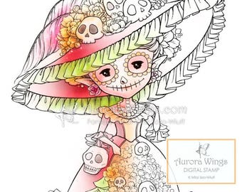 Digital Stamp - Day of the Dead Sprite - Instant Download - Catrina Doll Fantasy Line Art for Cards & Crafts by Mitzi Sato-Wiuff