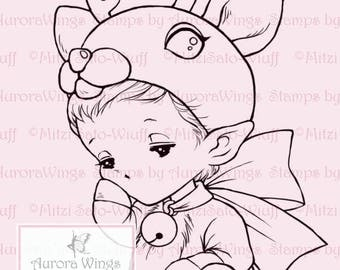 Reindeer Sprite - Aurora Wings Digital Stamp - Holiday Christmas Reindeer Baby Image - Fantasy Line Art Instant Download for Arts and Crafts