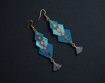 Glamour Earrings, Turquoise and Gold Earrings, Beadwork Earrings, Shimmering Earrings, Oriental Earrings, Party Earring, Tassel Earrings
