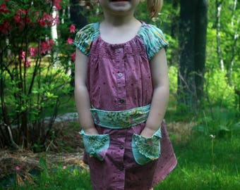 Cotton Dress - Size 2T - Toddler Girl Summer Dress - 100% Upcycled Fabric - Ecokids - Pocket Dress