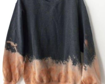 Gray Crewneck Sweatshirt, Acid wash sweatshirt, dip dye crewneck sweatshirt, Grunge, tie dye, retro, rocker, sweater, jumper, hipster, boho