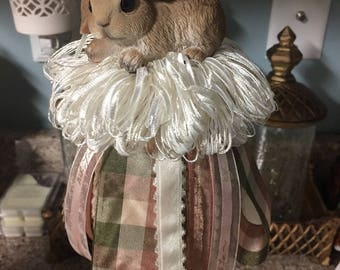 "Plaid ""With Love"" rabbit tassel"