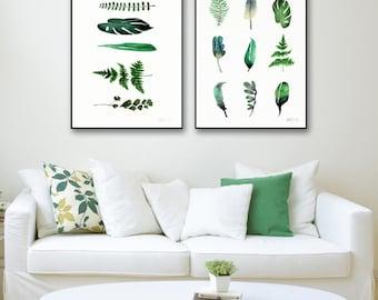 Set of 2 botanic art prints. Botanical giclee print. Set of 2 green leaves poster. Botanical prints. Large botanical prints. Modern wall art