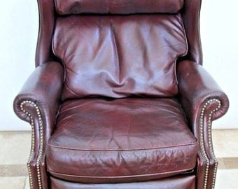 Vintage Bradington Young Oxblood Leather Brass tack Wingback Recliner