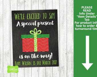 Christmas Present Pregnancy Announcement Sign - Printable Pregnancy Announcement Sign - Digital Chalkboard Sign - Present Pregnancy Sign