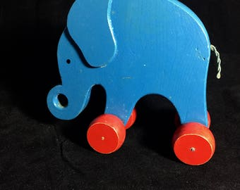 Vintage 1960s Childs Childrens Painted Wooden Toy - Modernist Elephant on Wheels