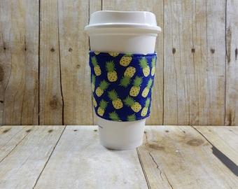 Fabric Coffee Cozy / Pineapple Coffee Cozy / Coffee Cozy / Tea Cozy