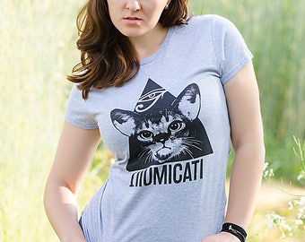 Womens Cat T-shirt, Girls Cat Tee, Available In 3 Colours, Sizes S, M, L And XL
