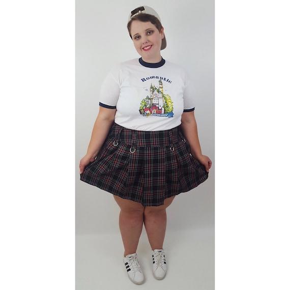90's Vintage Black Red & White Plaid Pleated Skirt - 2X High Waist Womens Schoolgirl Mini Skirt - 1990s Grunge Pleated Buckle Miniskirt