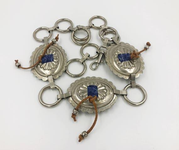 90's Silver Conch Chain Belt Denim Tassel Western Style Belt - Vintage Statement Chain Belt Adjustable Link Medium