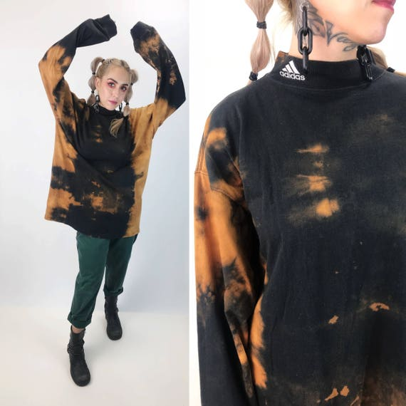 Adidas Mock Neck Black Tie Dye Bleached Long Sleeve Shirt 3XL Unisex - Plus Size Long/Tall Grunge Baggy Goth Cotton Shirt Black Bleached Tee
