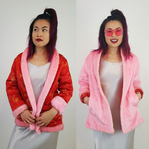 Vintage Reversible Pink Furry Jacket Small - 90s Red Chinese Silk Faux Fur Trim Overcoat - Double Sided Coat