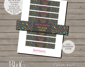 School Labels, Back To School Stickers, Printable Labes, Digital Files