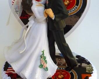 Wedding Cake Topper U.S. Marine Corps Themed USMC Bride Groom Dancing Heart Pretty w/ Bridal Garter Shower Reception Gift Idea Centerpiece