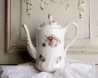 Antique French cottage chic purple flowers porcelain teapot, victorian teapot
