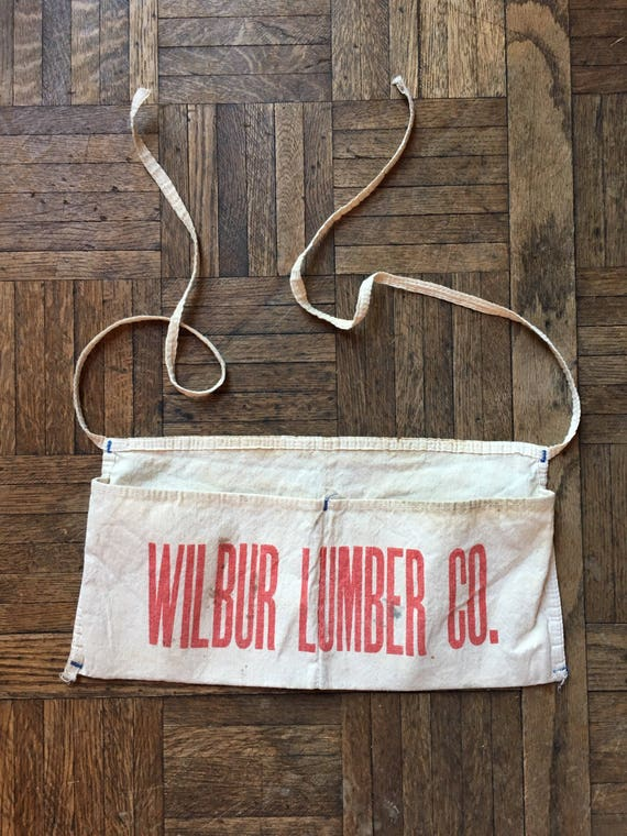 Vintage Hardware Store Lumber Yard Advertising Apron, Wilbur Lumber Co, Canvas Shop Apron