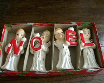 Vintage NOEL Angel Candle Holders Choir 2 Boys 2 Girls Christmas Box Ceramic Commodore Japan Lefton Napco Holt Howard Relco 1950s