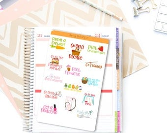 Spring Bucket List Stickers / Spring To Do List Sticker / Spring, Garden, Flowers Stickers / Spring Reminders for Planners