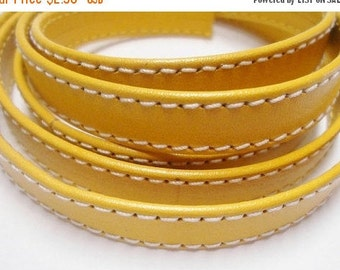 Pre Cuts, No Joins, Yellow Wrapped Double Stitched 10mm Flat Leather Cord,