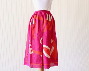 Vintage Skirt Pink Geometric Liz Claiborne 80's Skirt Linen Skirt Orange Beige Pink Size Small Extra Small