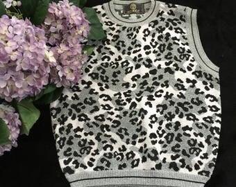 Vintage Istante Metallic Knit Sleeveless Sweater, Leopard Pattern