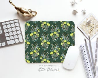 Green Garden Mousepad Floral Mouse Pad Greenery Mousepad garden Mousepad Office Mousemat Rectangular Mousepad Round 22.